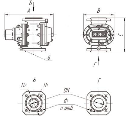 Габаритные и присоединительные размеры счетчиков газа  РГК-Ех типоразмеров G40 РГК-Ех 1:30
