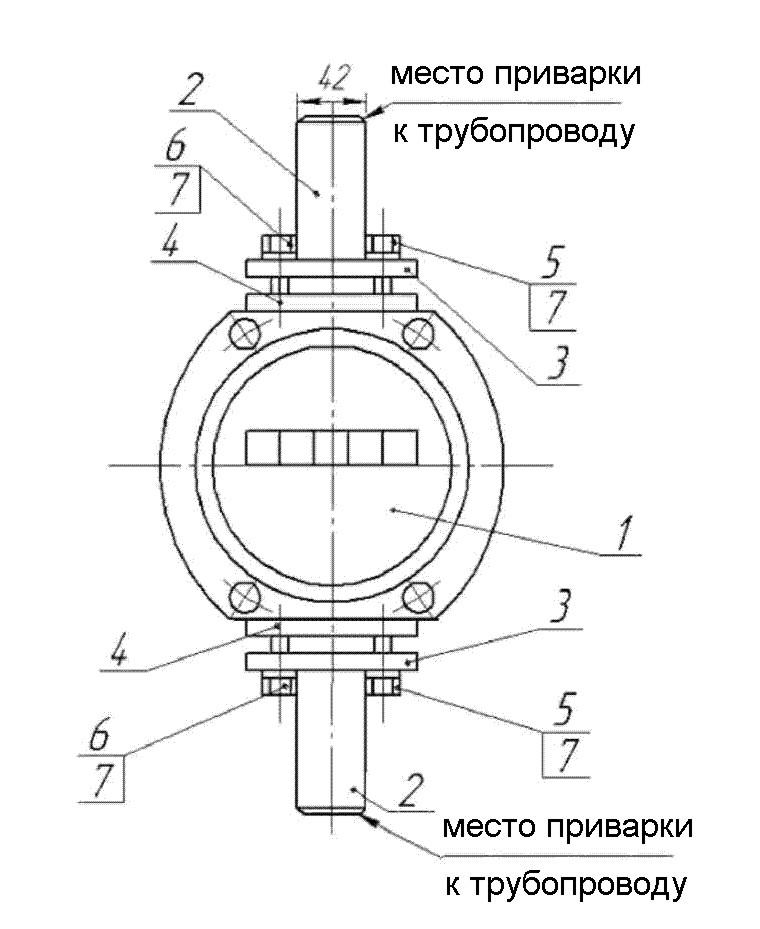 Рекомендуемая  схема монтажа счетчиков газа G16 РГА-Ех  1:100