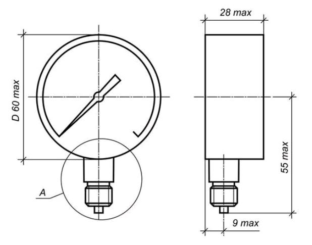 Исполнение МП2-УУ2 с радиальным штуцером без фланца