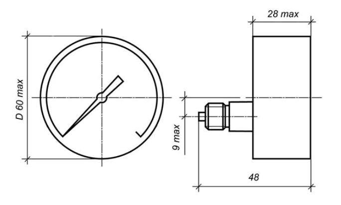 Исполнение МП2-УУ2 с осевым штуцером без фланца