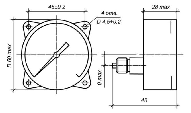 Исполнение МП2-УУ2 с осевым штуцером и передним фланцем