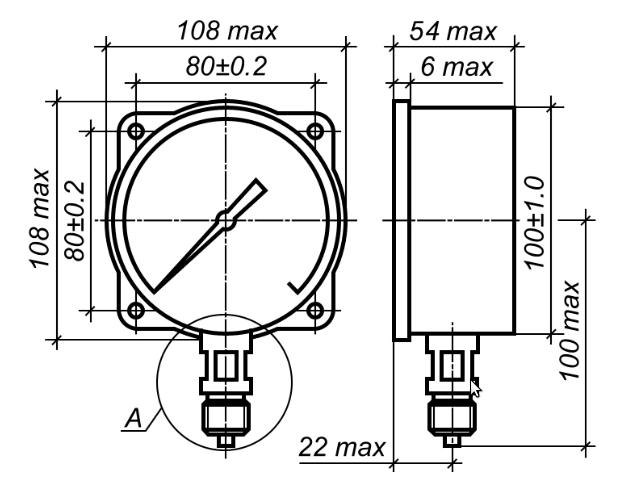 Исполнение МП3-УУ2 с радиальным штуцером и задним фланцем