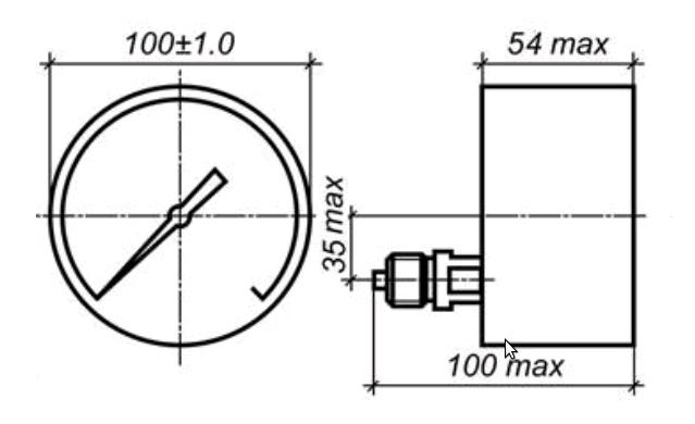 Исполнение МП3-УУ2 с осевым штуцером без фланца