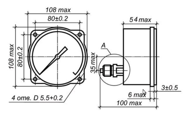 Исполнение МП3-УУ2 с осевым штуцером и передним фланцем