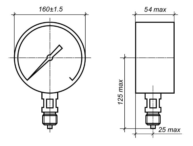 Исполнение МП4-УУ2 с радиальным штуцером без фланца