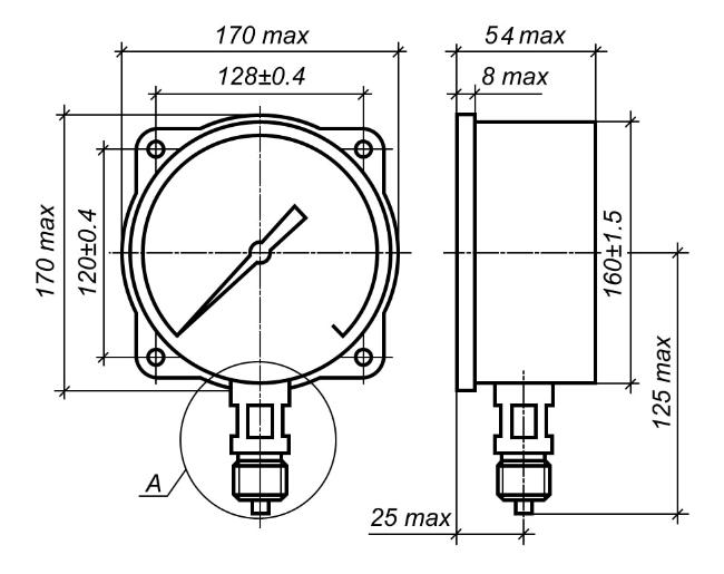 Исполнение МП4-УУ2 с радиальным штуцером и задним фланцем