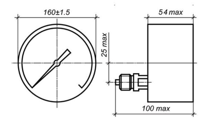 Исполнение МП4-УУ2 с осевым штуцером без фланца