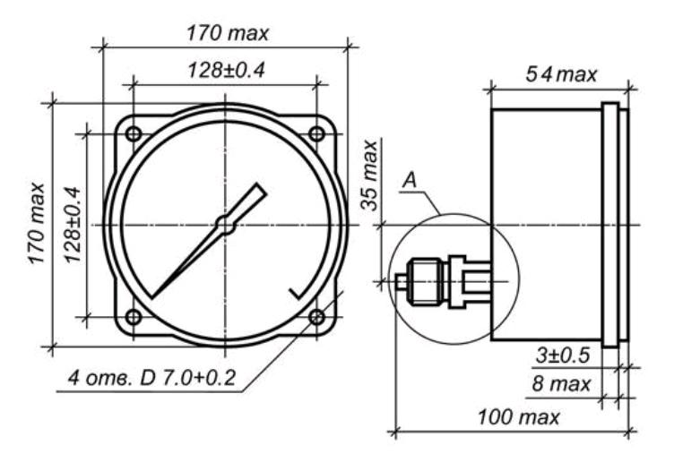 Исполнение МП4-УУ2 с осевым штуцером и передним фланцем