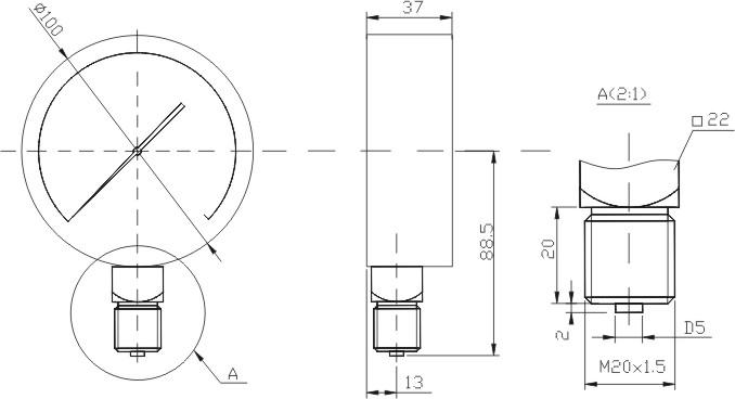 Размеры манометра МП3-Уф, МВП3-Уф, ВП3-Уф