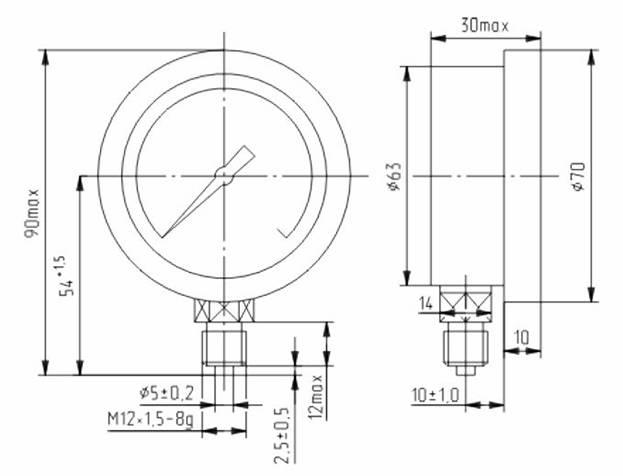 Габаритные и присоединительные размеры ДМ8008-ВУф